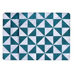 Triangle1 White Marble & Teal Leather Samsung Galaxy Tab 10 1  P7500 Flip Case by trendistuff