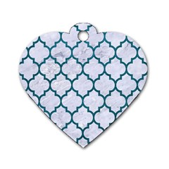 Tile1 White Marble & Teal Leather (r) Dog Tag Heart (one Side)
