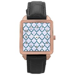 Tile1 White Marble & Teal Leather (r) Rose Gold Leather Watch  by trendistuff