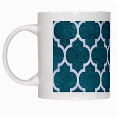Tile1 White Marble & Teal Leather White Mugs by trendistuff