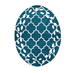 Tile1 White Marble & Teal Leather Oval Filigree Ornament (two Sides) by trendistuff