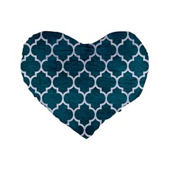 Tile1 White Marble & Teal Leather Standard 16  Premium Flano Heart Shape Cushions by trendistuff