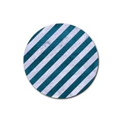 Stripes3 White Marble & Teal Leather (r) Rubber Coaster (round)  by trendistuff