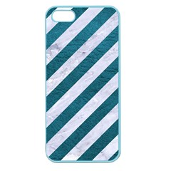 Stripes3 White Marble & Teal Leather (r) Apple Seamless Iphone 5 Case (color) by trendistuff