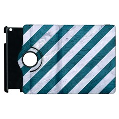 Stripes3 White Marble & Teal Leather (r) Apple Ipad 2 Flip 360 Case by trendistuff