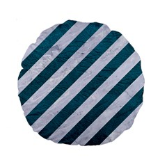 Stripes3 White Marble & Teal Leather (r) Standard 15  Premium Round Cushions by trendistuff