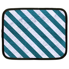 Stripes3 White Marble & Teal Leather Netbook Case (large) by trendistuff