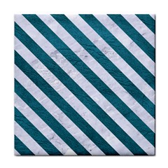 Stripes3 White Marble & Teal Leather Face Towel by trendistuff
