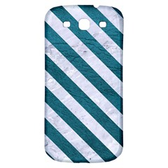 Stripes3 White Marble & Teal Leather Samsung Galaxy S3 S Iii Classic Hardshell Back Case by trendistuff