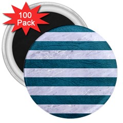 Stripes2white Marble & Teal Leather 3  Magnets (100 Pack) by trendistuff
