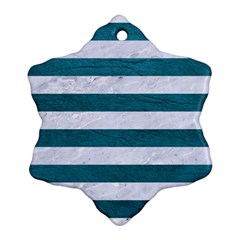 Stripes2white Marble & Teal Leather Ornament (snowflake) by trendistuff