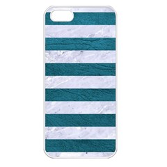 Stripes2white Marble & Teal Leather Apple Iphone 5 Seamless Case (white) by trendistuff