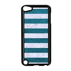 Stripes2white Marble & Teal Leather Apple Ipod Touch 5 Case (black) by trendistuff