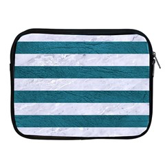 Stripes2white Marble & Teal Leather Apple Ipad 2/3/4 Zipper Cases by trendistuff