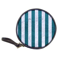 Stripes1 White Marble & Teal Leather Classic 20 Cd Wallets by trendistuff