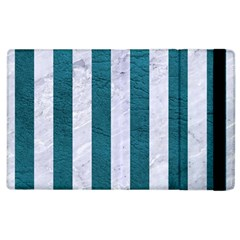 Stripes1 White Marble & Teal Leather Apple Ipad 2 Flip Case by trendistuff