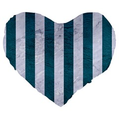 Stripes1 White Marble & Teal Leather Large 19  Premium Heart Shape Cushions by trendistuff