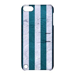 Stripes1 White Marble & Teal Leather Apple Ipod Touch 5 Hardshell Case With Stand by trendistuff