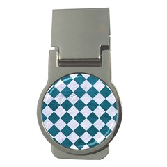 Square2 White Marble & Teal Leather Money Clips (round)  by trendistuff