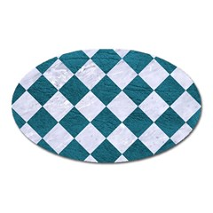 Square2 White Marble & Teal Leather Oval Magnet by trendistuff