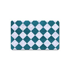 Square2 White Marble & Teal Leather Magnet (name Card) by trendistuff