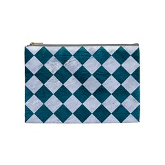Square2 White Marble & Teal Leather Cosmetic Bag (medium)  by trendistuff