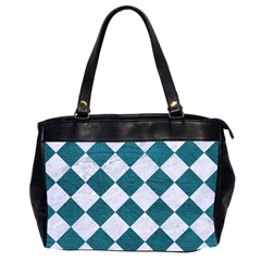Square2 White Marble & Teal Leather Office Handbags (2 Sides)  by trendistuff
