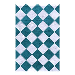 Square2 White Marble & Teal Leather Shower Curtain 48  X 72  (small)  by trendistuff
