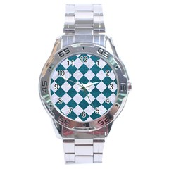 Square2 White Marble & Teal Leather Stainless Steel Analogue Watch by trendistuff