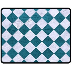Square2 White Marble & Teal Leather Double Sided Fleece Blanket (medium)  by trendistuff