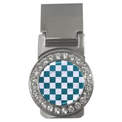 Square1 White Marble & Teal Leather Money Clips (cz)  by trendistuff
