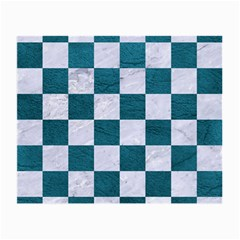 Square1 White Marble & Teal Leather Small Glasses Cloth (2 Side) by trendistuff