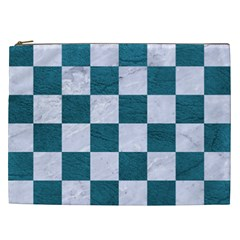 Square1 White Marble & Teal Leather Cosmetic Bag (xxl)  by trendistuff
