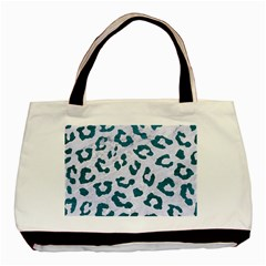 Skin5 White Marble & Teal Leather Basic Tote Bag (two Sides) by trendistuff