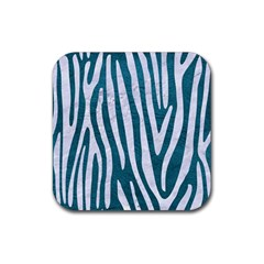 Skin4 White Marble & Teal Leather (r) Rubber Coaster (square)  by trendistuff