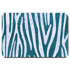 Skin4 White Marble & Teal Leather (r) Large Doormat  by trendistuff