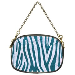 Skin4 White Marble & Teal Leather (r) Chain Purses (one Side)  by trendistuff