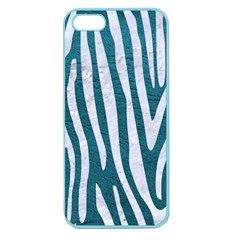 Skin4 White Marble & Teal Leather (r) Apple Seamless Iphone 5 Case (color) by trendistuff
