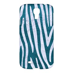 Skin4 White Marble & Teal Leather (r) Samsung Galaxy S4 I9500/i9505 Hardshell Case