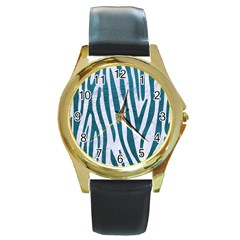 Skin4 White Marble & Teal Leather Round Gold Metal Watch by trendistuff