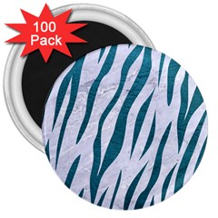 Skin3 White Marble & Teal Leather (r) 3  Magnets (100 Pack) by trendistuff
