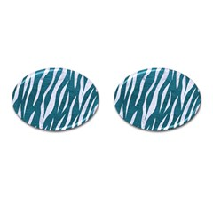 Skin3 White Marble & Teal Leather Cufflinks (oval) by trendistuff