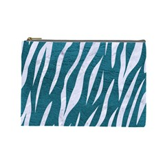 Skin3 White Marble & Teal Leather Cosmetic Bag (large)  by trendistuff