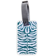 Skin2 White Marble & Teal Leather (r) Luggage Tags (one Side)