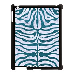 Skin2 White Marble & Teal Leather (r) Apple Ipad 3/4 Case (black) by trendistuff