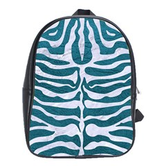 Skin2 White Marble & Teal Leather School Bag (xl) by trendistuff