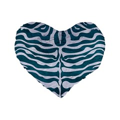 Skin2 White Marble & Teal Leather Standard 16  Premium Flano Heart Shape Cushions by trendistuff