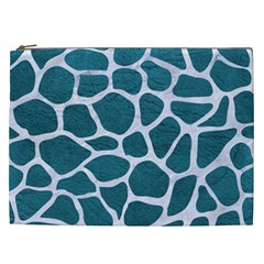 Skin1 White Marble & Teal Leather (r) Cosmetic Bag (xxl)  by trendistuff
