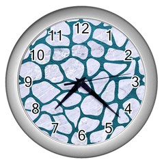 Skin1 White Marble & Teal Leather Wall Clocks (silver)  by trendistuff