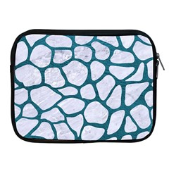 Skin1 White Marble & Teal Leather Apple Ipad 2/3/4 Zipper Cases by trendistuff
